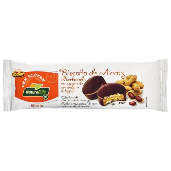Biscoito De Arroz Recheado Com Pasta De Amendoim Sem Glúten 40gr - Natural Life