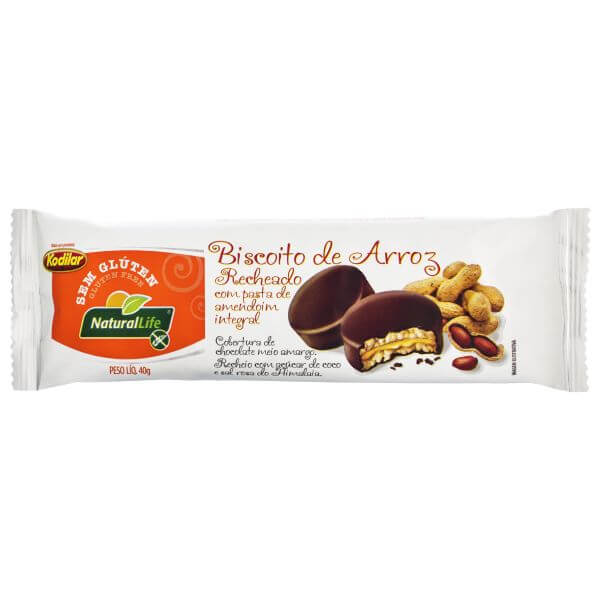 Biscoito De Arroz Sem Glúten Recheado Com Pasta De Amendoim Coberto Com Chocolate 40gr -Natural Life