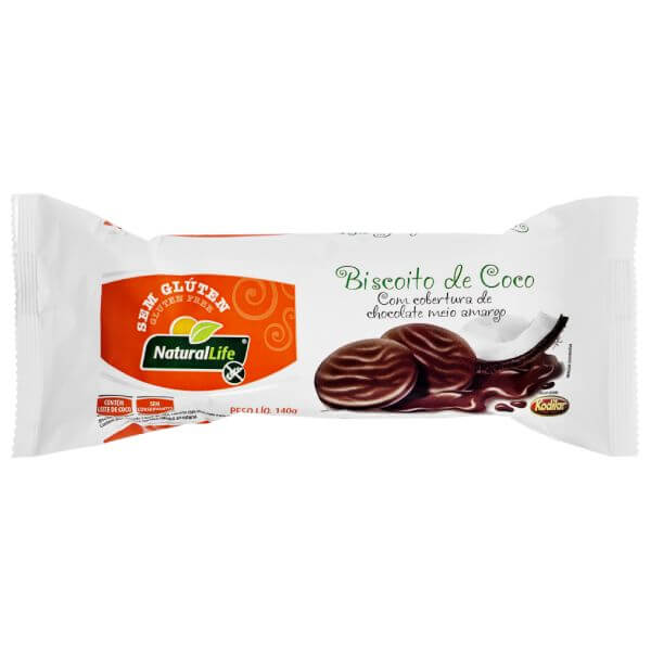 Biscoito Sabor Coco Coberto Comchocolate Sem Glúten - Natural Life
