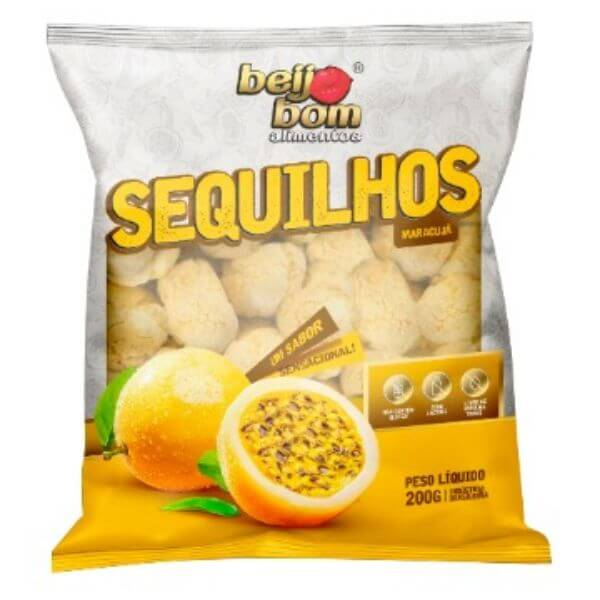Biscoito Sequilhos Sabor Maracujá 200gr - Beijo Bom