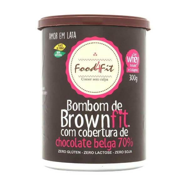 Bombom Brownie Com Cobertura De Chocolate Belga Amor Em Lata 300g - Food4Fit