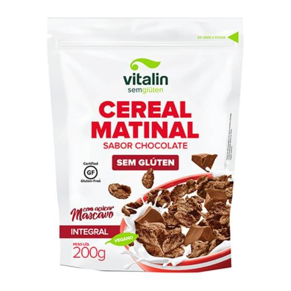 Cereal Matinal Sabor Chocolate Sem Glúten Com Açúcar Mascavo 200gr - Vitalin