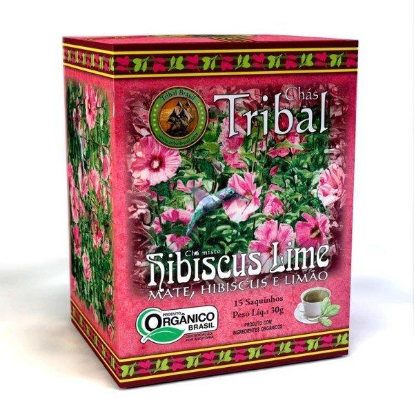 Chá De Erva Mate Orgânico Hibicus Lime Caixa Com 15 Sachês De 35gr - Tribal