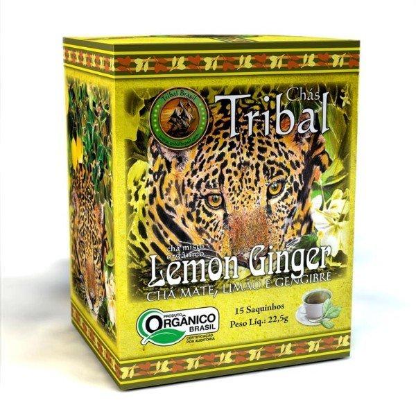Chá De Erva Mate Orgânico Lemon Ginger Caixa Com 15 Sachês De 22gr - Tribal