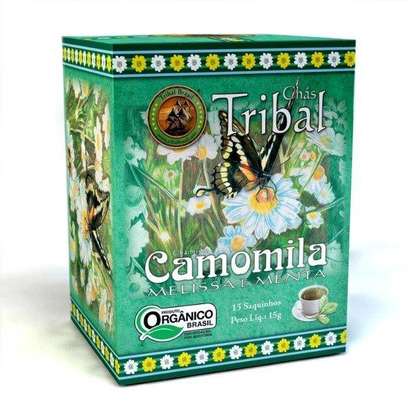 Chá Orgânico De Camomila Melissa E Menta Caixa Com 15 Sachês De 27G 15gr - Tribal