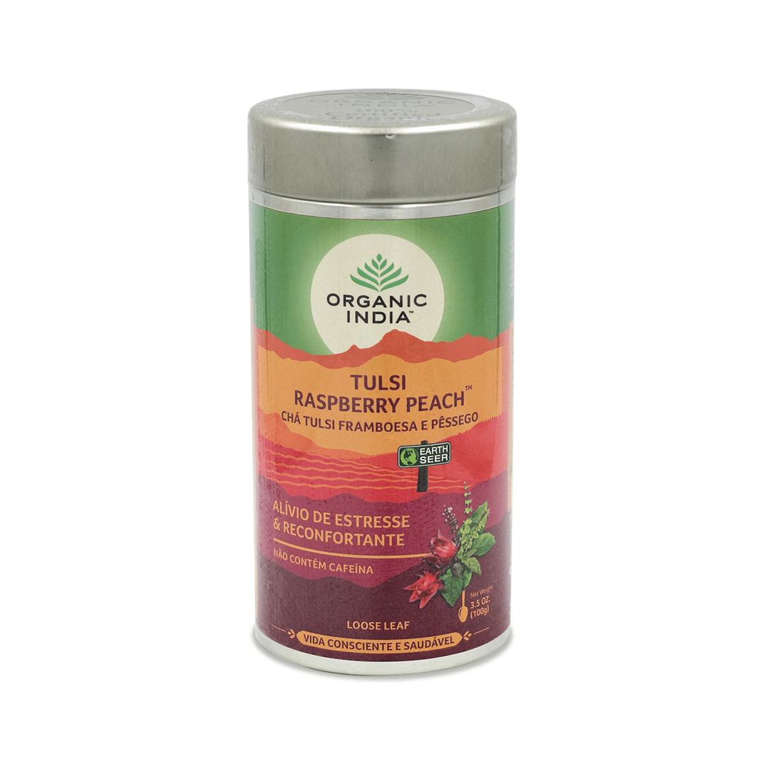 Chá Tulsi Framboesa e Pessêgo Lata 100gr - Organic India