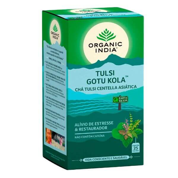 Cha Tulsi Gotukola 25 Sachês de 25gr - Organic India
