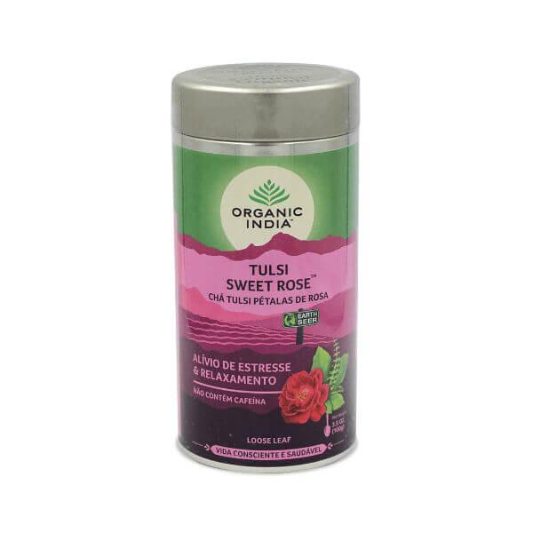 Chá Tulsi Pétalas de Rosa Lata 100gr - Organic India