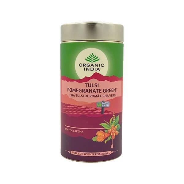 Chá Tulsi Pomegranate (Chá Verde de Roma) Lata 100gr - Organic India