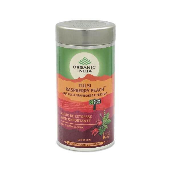 Cha Tulsi Raspberry Peach (Framboesa e Pêssego)  Lata 100gr - Organic India