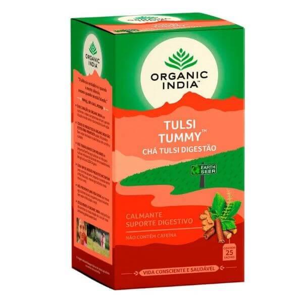 Chá Tulsi Tummy (Gengibre e Canela) 25 Sachês de 45g - Organic India