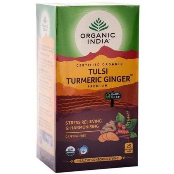 Chá Tulsi Turmeric Ginger (Cúrcuma e Gengibre) 25 Sachês de 25gr - Organic India