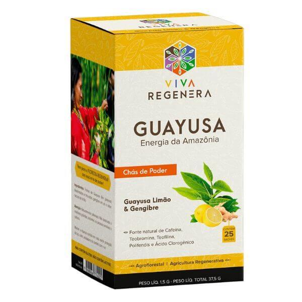 Chás de Guayusa Limão e Gengibre 25 Sachês - Viva Regenera