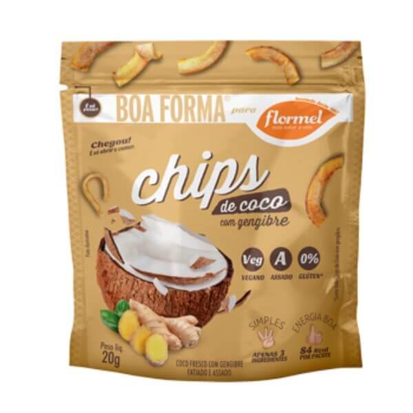 Chips De Coco Com Gengibre 20gr - Flormel