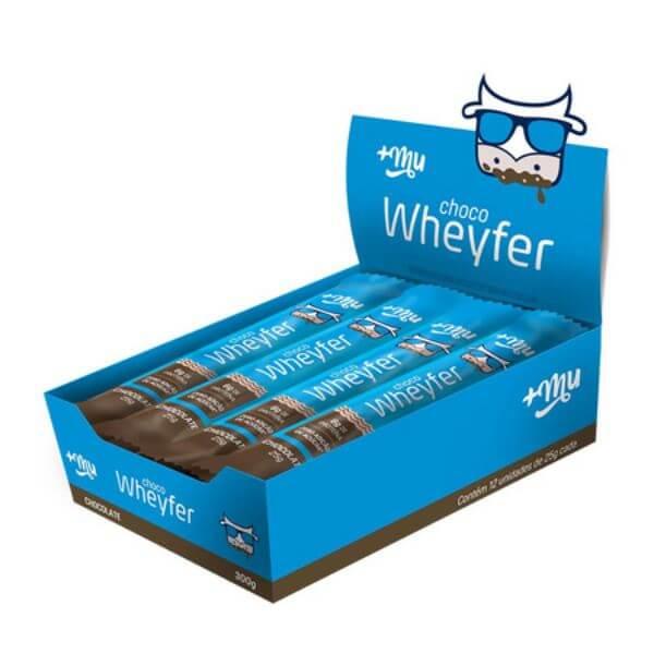 Choco Wheyfer Sabor Chocolate Com Cobertura Chocolate Caixa com 12unds de 25gr - MaisMu