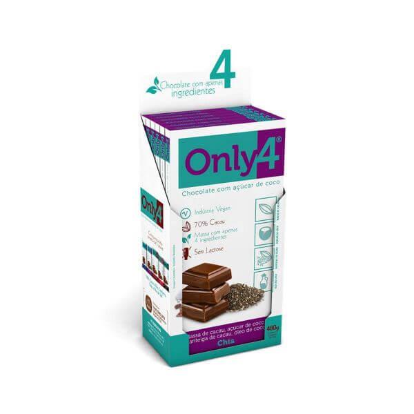 Chocolate 70% Cacau sabor Chia Display 6x80g Only4