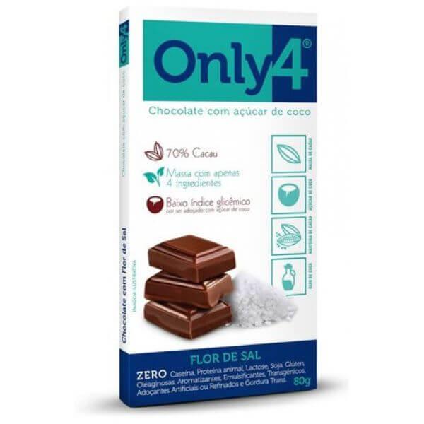 Chocolate 70% Cacau Sabor Flor De Sal 80gr - Only 4