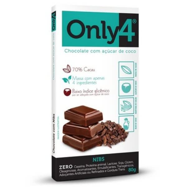 Chocolate 70% Cacau Sabor Nibs 80gr - Only 4