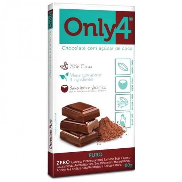 Chocolate 70% Cacau Sabor Puro 80gr - Only 4
