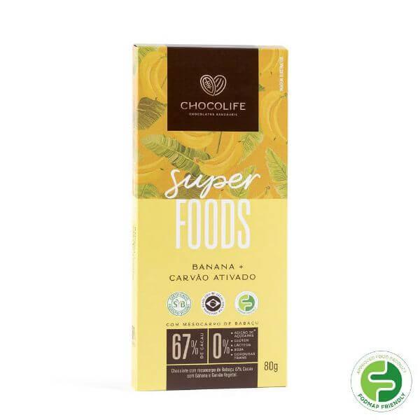 Chocolate de Babacu 67% Cacau c/ Banana e Carvao Ativado Super Foods 80g - Chocolife