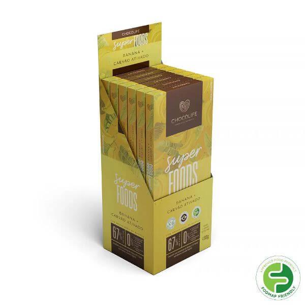 Chocolate de Babacu 67% Cacau c/ Banana e Carvao Ativado Super Foods Display 6x80g Chocolife