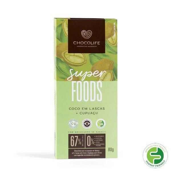 Chocolate de Babacu 67% Cacau c/ Cupuacu e Lascas de Coco Super Foods 80g - Chocolife