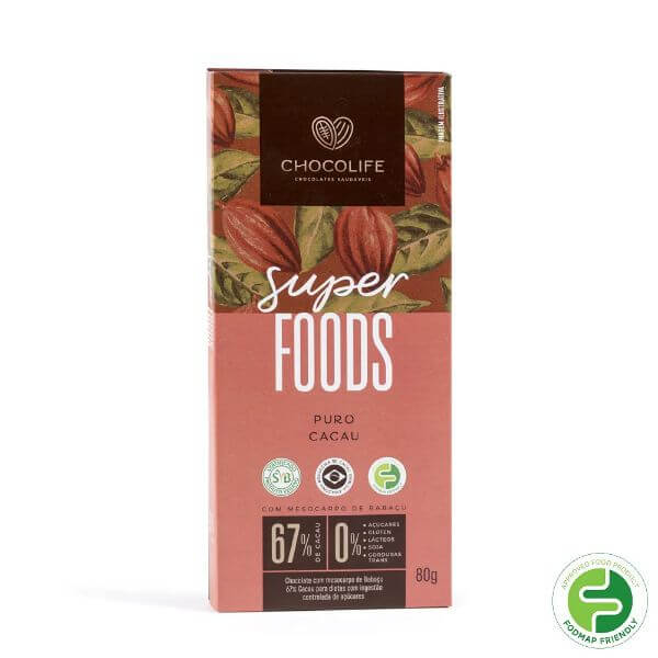 Chocolate de Babacu 67% Cacau Puro Super Foods 80g - Chocolife