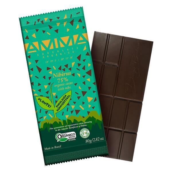 Chocolate Orgânico 75% Cacau Com Nibs 80gr - Amma