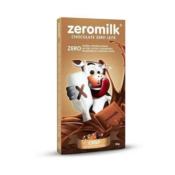 Chocolate Sem Leite Crispy Com Flocos De Arroz 80gr - Zeromilk