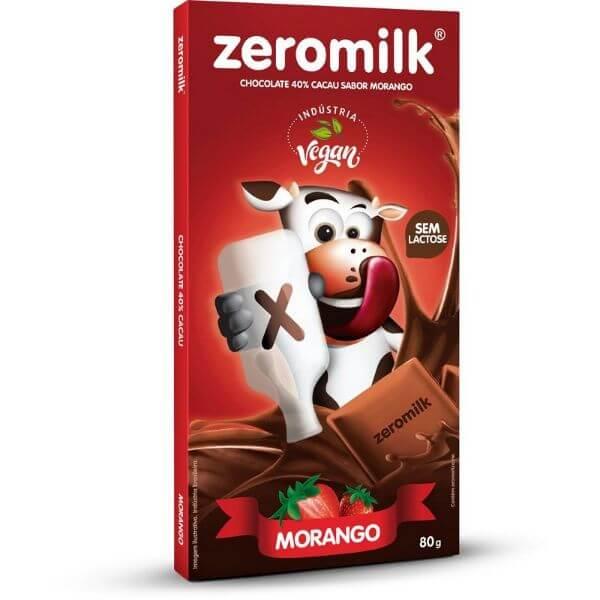 Chocolate Zero Leite Morango 80g - ZeroMilk