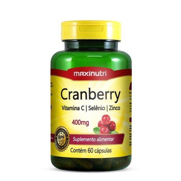 Cranberry Vitamina C E Zinco 60 Cápsulas De 400mg  - Maxinutri