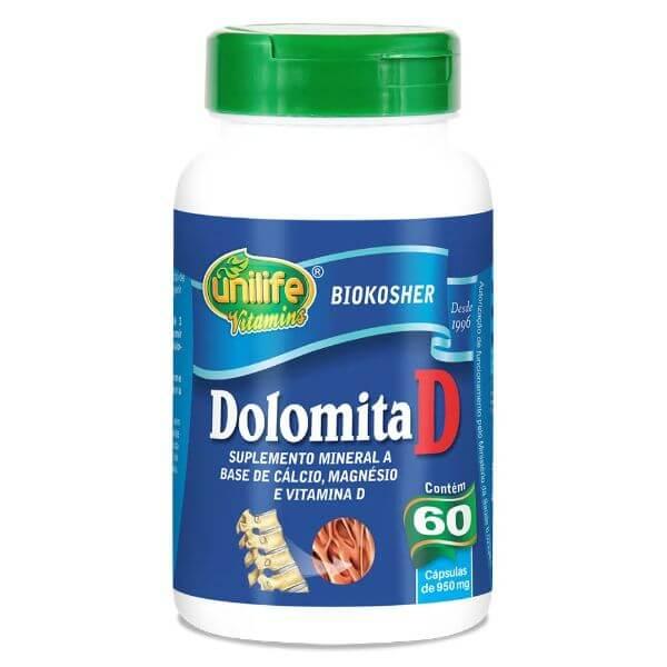 Dolomita, Cálcio e Magnésio 950mg 60 Cápsulas - Unilife