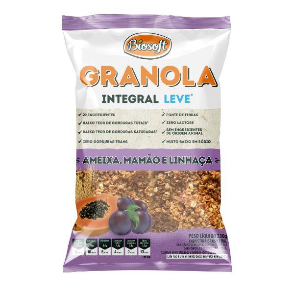 granola Com Ameixa Mamão E Linhaca Light 230gr - Biosoft