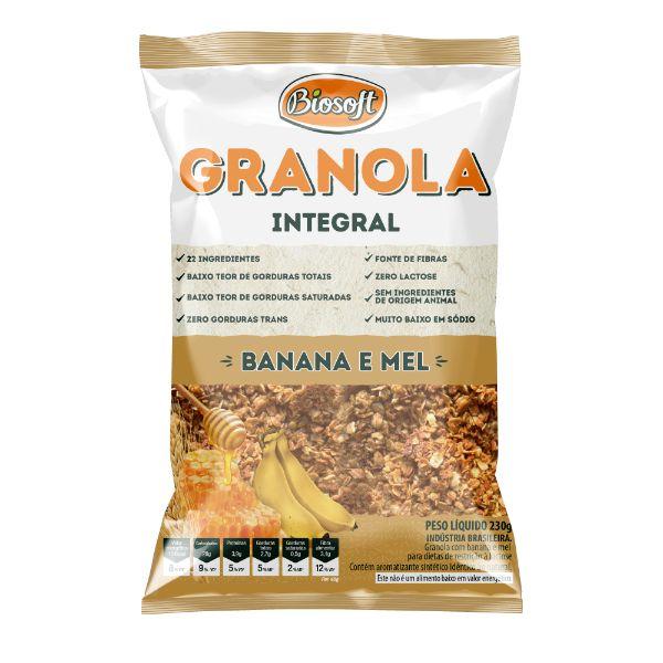 Granola Com Banana E Mel 230gr - Biosoft