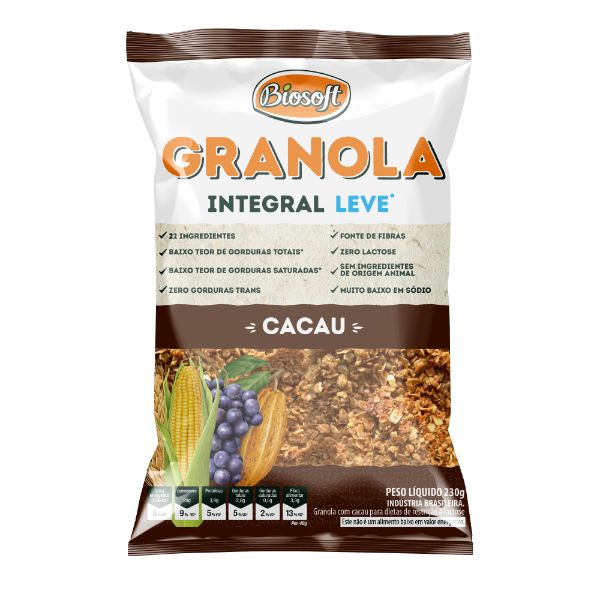 Granola Com Cacau E Gotas De Chocolate 230gr -  Biosoft