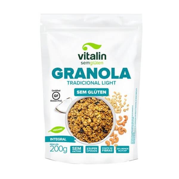 granola Integral Tradicional Light Sem Glúten 200gr - Vitalin