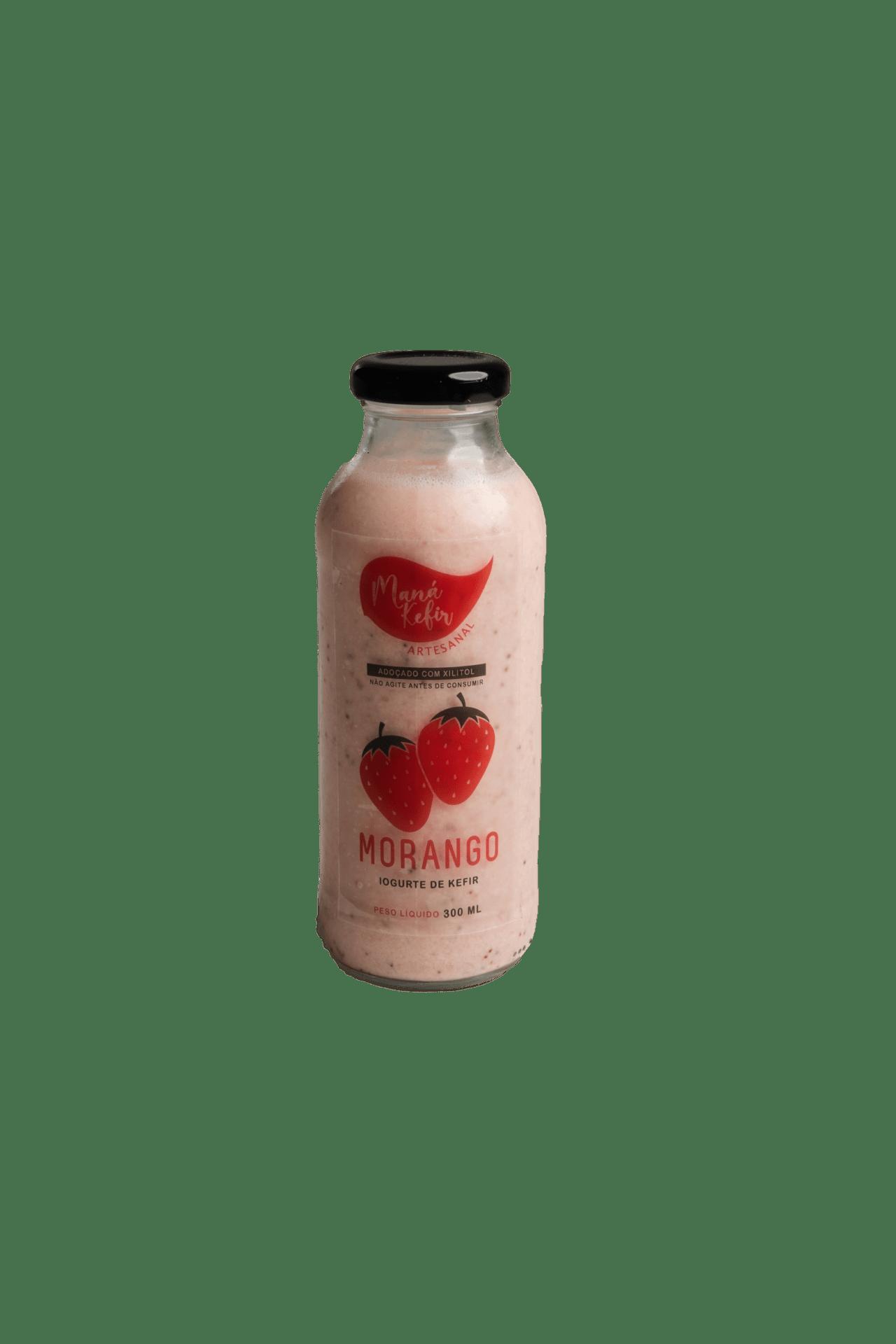 Iogurte De Kefir  Morango Com Xilitol 300ml - Mana Kefir