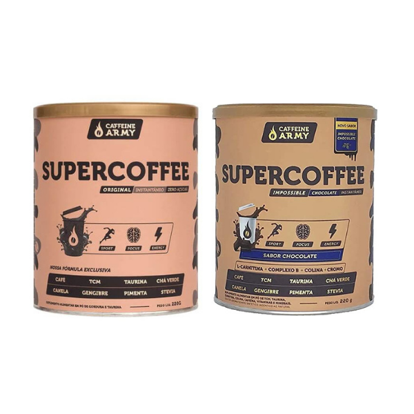 kit 1 SuperCoffe 2.0 + SuperCoffe Impossible Chocolate 220gr - Caffeine Army