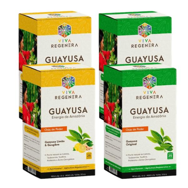 Kit 2 Chás Guayusa Limão/Gengibre + 2 Original Viva Regenera