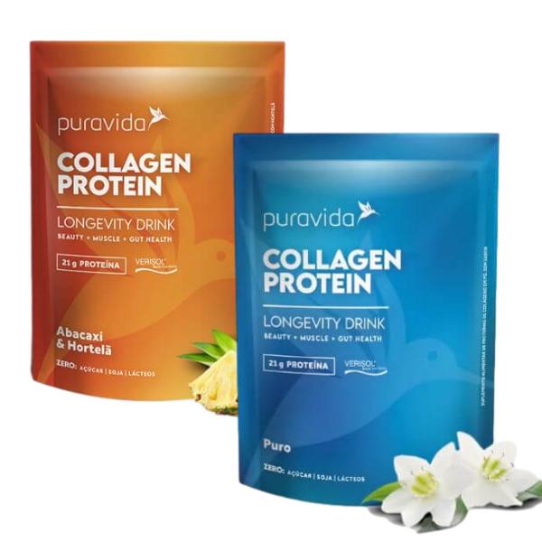 Kit 2 Collagen Protein Abacaxi E Neutro 450gr - Pura Vida