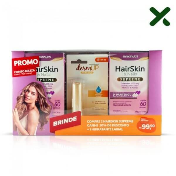 Kit 2 HairSkin e Nails Supreme 60 Capsulas + Hidratante Labial - Maxinutri