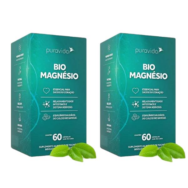 Kit 2 Und - Bio Magnesio 60 Capsulas De 1200mg - Pura Vida