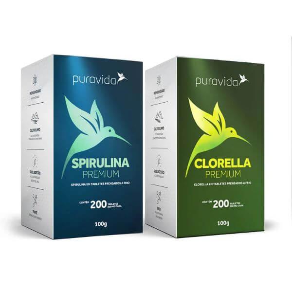 Kit 2 Und - Spirulina E Clorella De 500mg  - Pura Vida