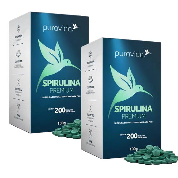 Kit 2und - Spirulina Premium 200 Tabletes De 500mg - Pura Vida