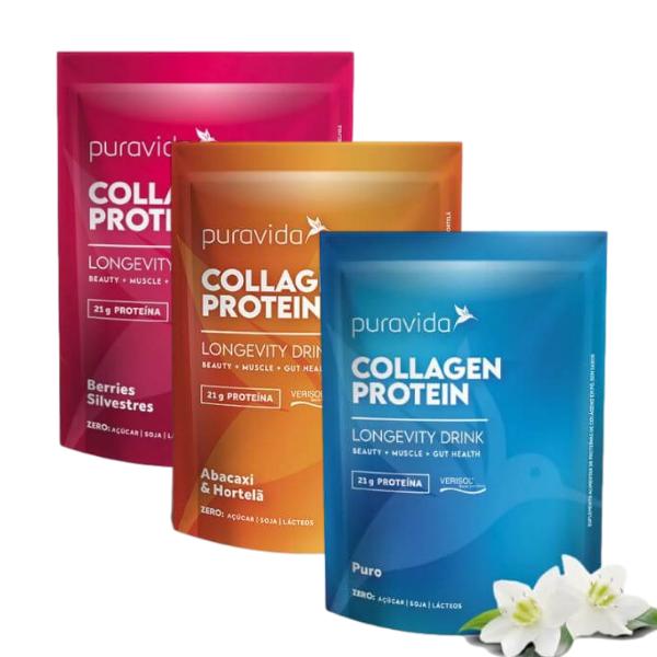 Kit 3 Collagen Neutro, Berries E Abacaxi 450gr - Pura Vida