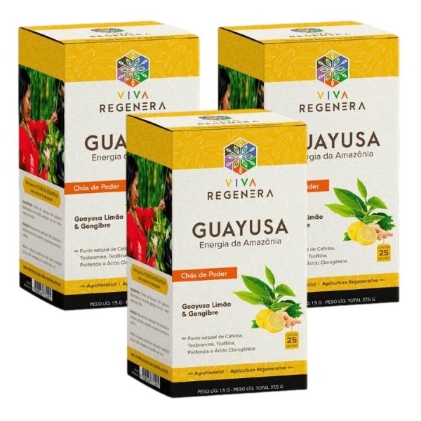 Kit 3unds Chá de Guayusa Limão/Gengibre cx - Viva Regenera
