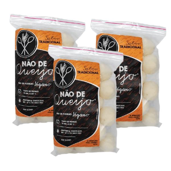 Kit 3unds - Pão De Polvilho Vegano Sabor Tradicional  400gr - Não De Queijo
