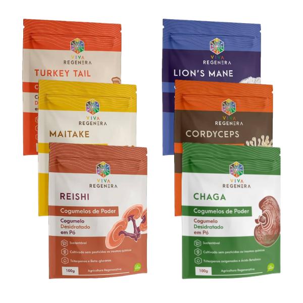 Kit 6 unds Cogumelos do Poder (Chaga, Cordyceps, Lion's Mane, Maitake, Reishi e Turkey Tail) - Viva Regenera