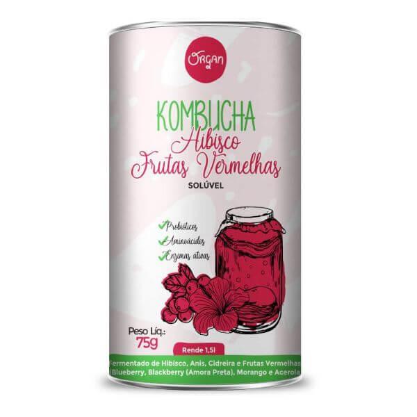 Kombucha em po sabor Hibisco Frutas Vermelhas 75g - Organ