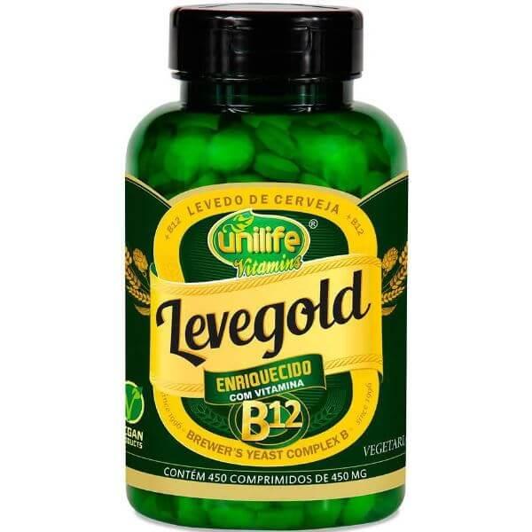 leveGold - Levedo de Cerveja = B12 450mg 60 Cápsulas - Unilife